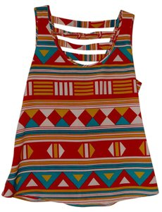 Aryn K Aztec Print V-back Top Multi-colored