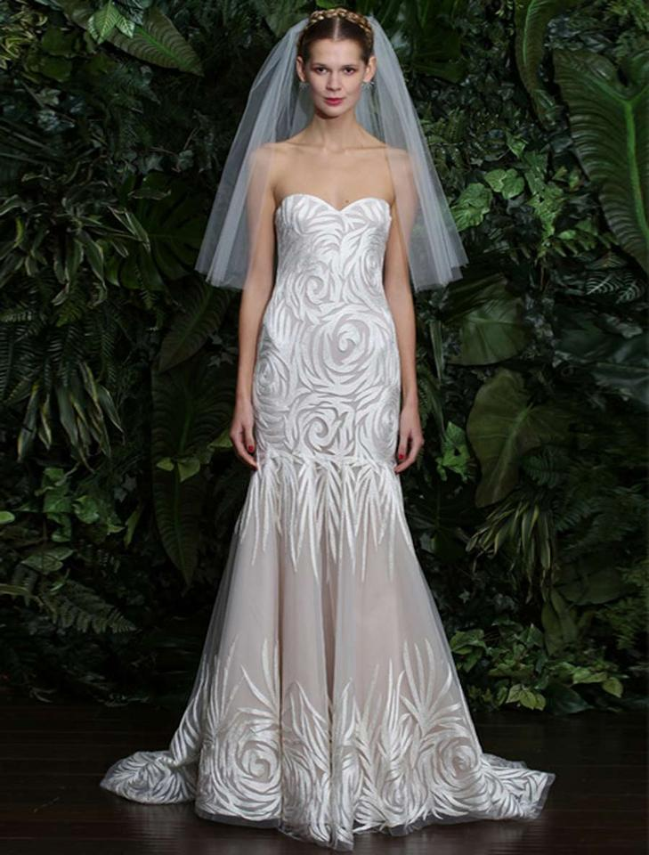 Naeem Khan Ivory With Lining Embroidered Tulle Florence Formal Wedding Dress Size 8 M