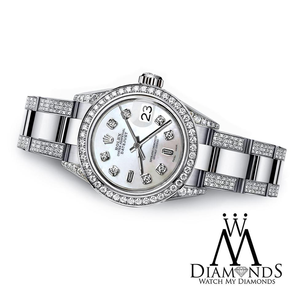 Rolex women 39 s datejust 26mm two tone s steel diamond white dial watch tradesy for Diamond dial watch