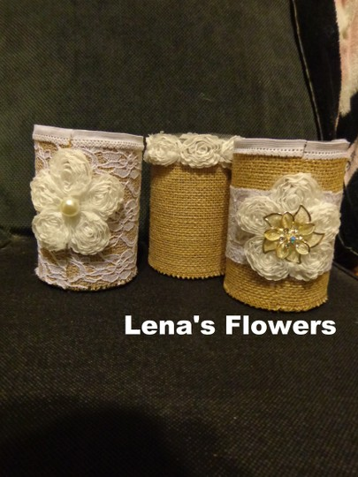 Set Of 3 Rustic Tin Can Wedding Centerpieces. Burlap Vases Can Containers For Table Decor Or Country Rustic Wedding