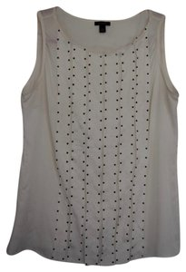 Ann Taylor Silk Work Attire Top White with Black beads