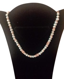 Stretch natural pearls neckace with rhinestones