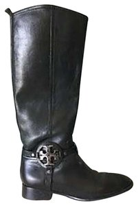 Tory Burch Leather Riding Knee High Black Boots