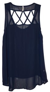 Other Boutique Find Sheer Navy Top Navy Blue