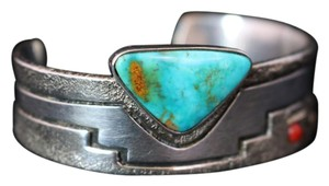 Leroy Begay LEROY BEGAY PUEBLO LADDER NAVAJO SILVER GOLD CORAL TURQUOISE CUFF BRACELET