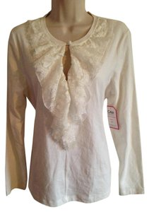 CAbi Ruffle Longsleeve Lace Top White