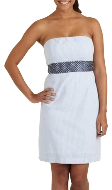 Item - White Blue Multi Sash Style# 2q0141 Sashay Carolyn Above Knee Short Casual Dress Size 4 (S)