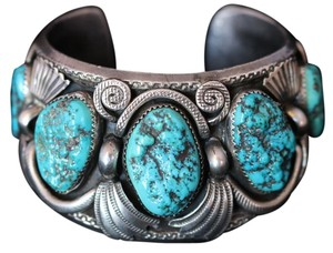 Jimmy Victor Begay RARE JIMMY VICTOR BEGAY NAVAJO STERLING SILVER TURQUOISE VINTAGE CUFF BRACELET