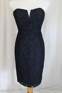 J.Crew Navy Lace Cathleen In Leavers Formal Bridesmaid/Mob Dress Size 4 (S)