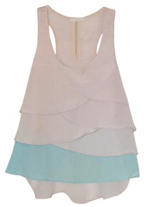 Lush Nordstrom Scalloped Top Tan and turquoise