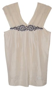 BCBGMAXAZRIA Bcbg Silk Top Beige with Blue and Grey Embroidery