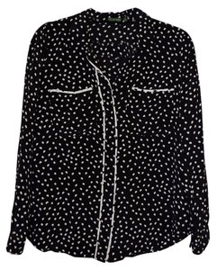 Anthropologie Button Down Blouse Silk Button Down Shirt Black with white polka dots