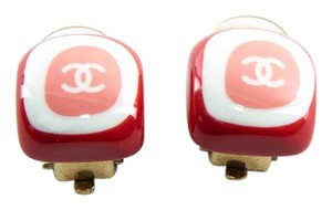 Chanel Red CC Logo in Pink and White Clip On Earrings