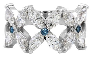 Other 18K White Gold Cocktail Ring w Marquis and Blue Diamonds