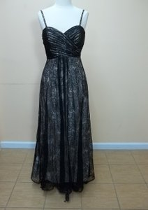 Impression Bridal Black/Palomino Satin/Lace / Formal Bridesmaid/Mob Dress Size 14 (L)