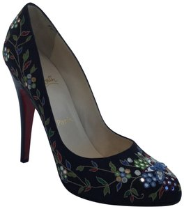 Christian Louboutin Clichy Brode Embroidered Black Pumps