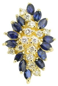 Other 14K Yellow Gold 0.40Ct Diamond 1.30Ct Sapphire 9.2 Grams Size 4