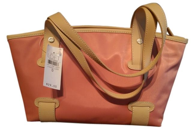 Item - Style Number 79-124466 Small Or Satchel Light Peach/Pink with Beige Trim Nylon Throughout Tote