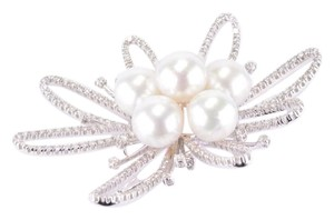 Other 18K White Gold Pearl and Diamond Brooch