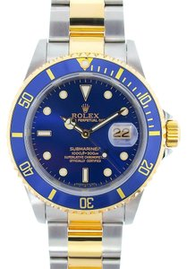 Rolex Rolex Two-Tone Blue Dial Submariner Watch 16613