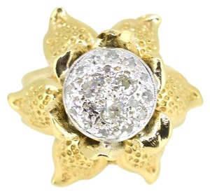 Other 14K Yellow Gold 0.75CT Diamond Flower Ring 10 Grams Size 6