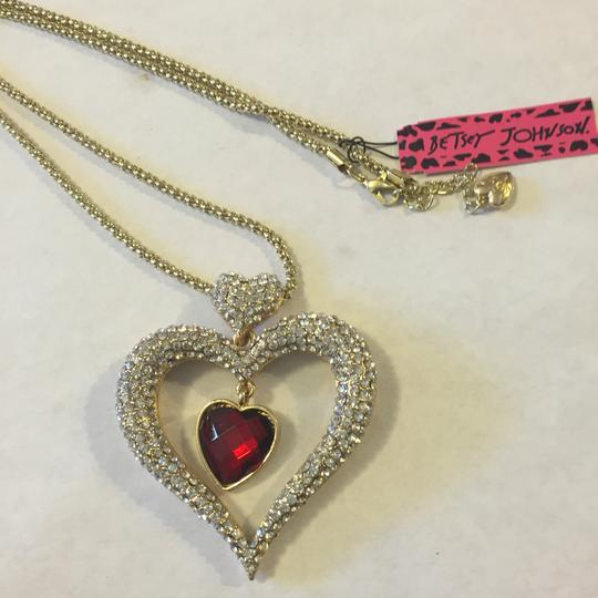 Betsey Johnson Silver. Gold. Ruby Necklace