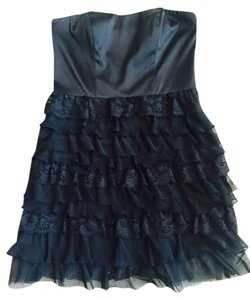 Express Silk Chiffon Lace Ruffle Boning Mini Strapless Little Party Dress