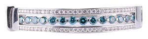 18K White Gold Round and Blue Diamond Bracelet