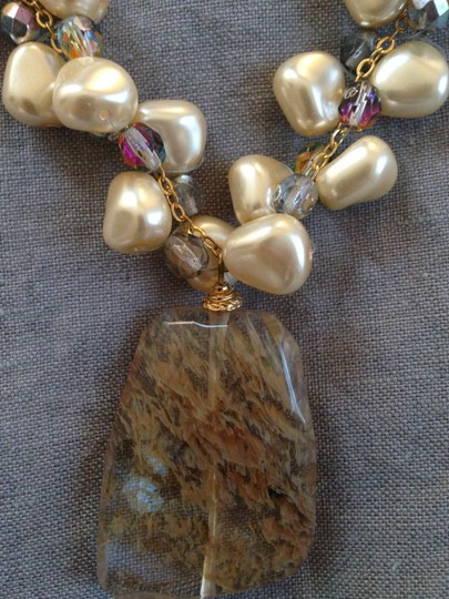 Unknown Beaded, stone pendant, and pearl necklace