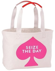 Kate Spade Cotton Canvas Pink Tote in Pink; Cream