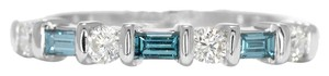 Other 18K White Gold Ring w Blue Baguette and Round Diamonds