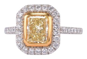 Fancy Yellow Radiant Cut Diamond W Halo Diamonds in Platinum