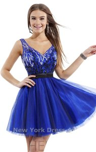 Rachel Allan Homecoming Short Prom Navy Dress