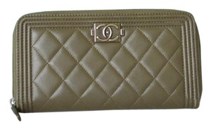 Chanel Chanel Army Green Quilted Leather Le Boy Zip Wallet