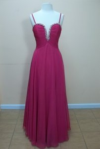 Impression Bridal Fuchsia Chiffon 20187 Formal Bridesmaid/Mob Dress Size 14 (L)