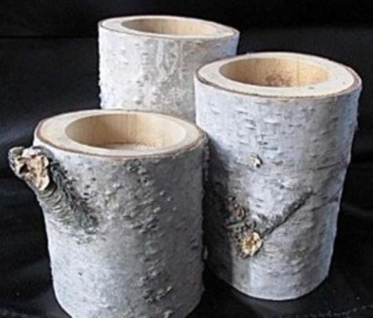White 73 Birch Holders Votive/Candle