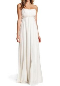 Nicole Miller Bridal Antique White Silk Beaded Gown Ja0005 Maternity Optional Feminine Wedding Dress Size 0 (XS)