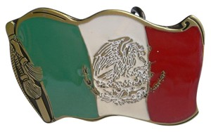 Other New Men Women Antique Gold Green White Red Eagle Snake Mexican Flag Belt Buckle