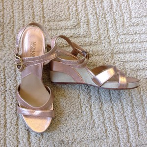 Michael Kors Pebbled Leather Suede Rose Gold Metallic Wedges