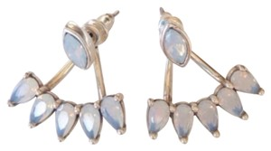 New RA Gold Vintage Rose and White Opal Antique Silver Jacket Earrings