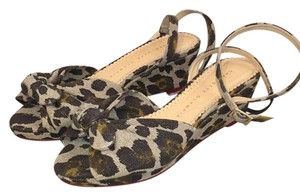 Charlotte Olympia Animal Print Ankle Strap New 7.5 Tan, brown Wedges