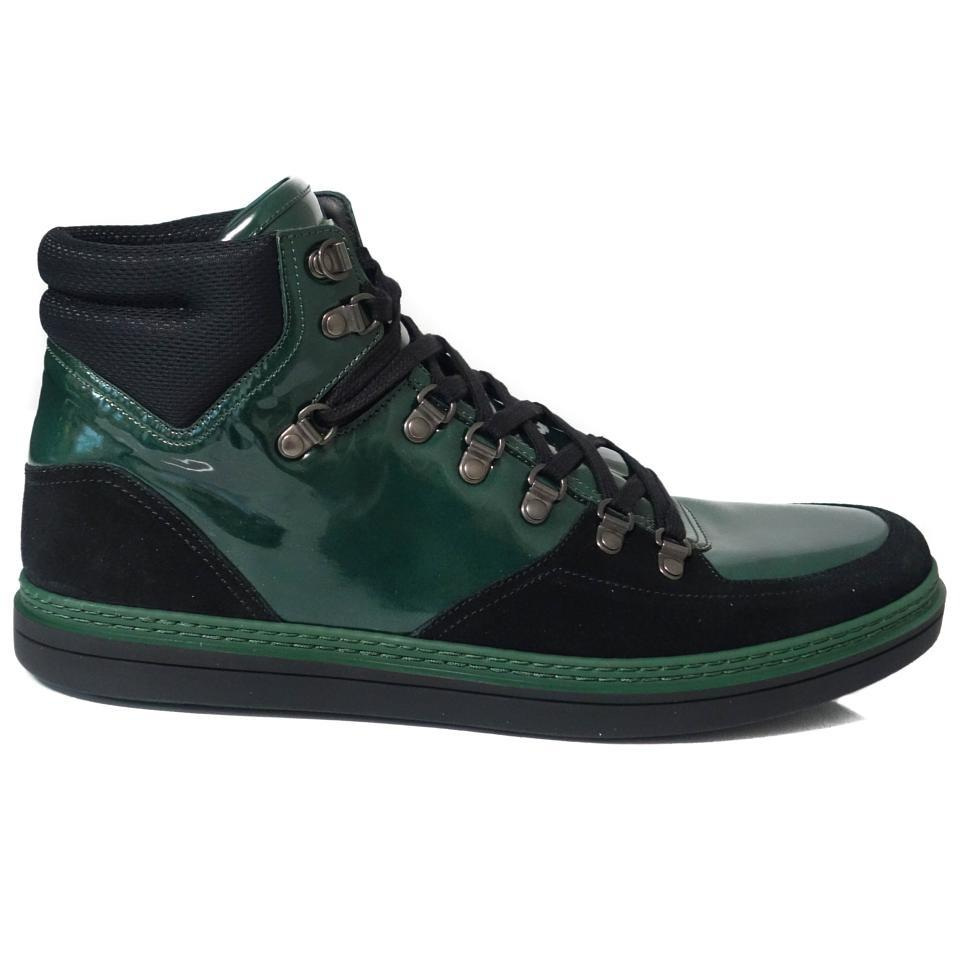 40175820b Gucci Green 368496 Men's Contrast Combo High Top 11g/ 12us Sneakers ...