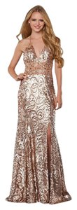Bari Jay Rose Gold Shimmer Prom Dress