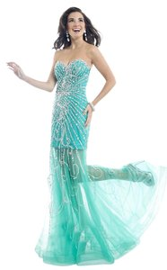 Party Time Formals Sheer Skirt Fitted Prom Dress