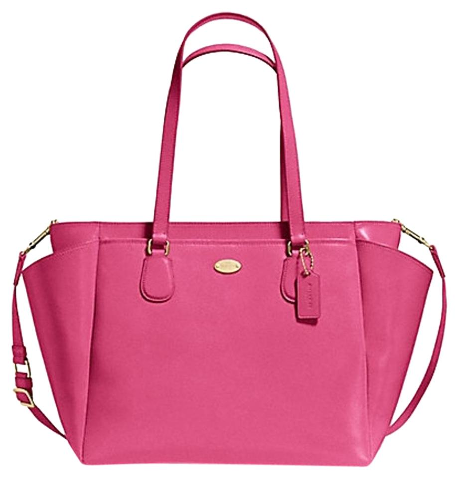 Multifunction Tote Comes with Changing Pad Dahlia Pink Leather Diaper Bag 20f971520325e