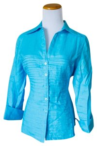 Tracy M Button Down Shirt Blue