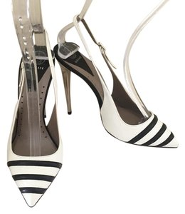 Versace Leather Power Patent Leather Heel White Pumps