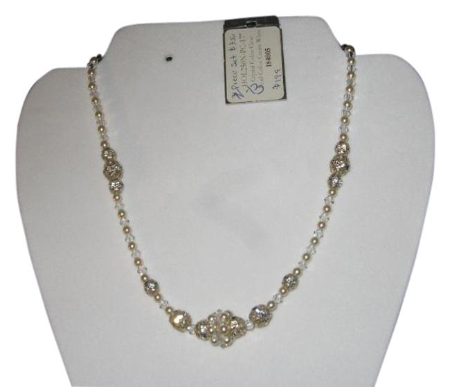 "Item - Crystal - Color Pearl - Cream White Hol250n 17"" ( N-13) Bridal with Center Cluster Necklace"