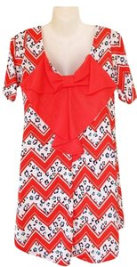short dress coral, white, teal, yellow, purple Tunic Back Bow Chevron on Tradesy