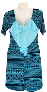 Other short dress teal, black Back Bow Aztec Tunic on Tradesy